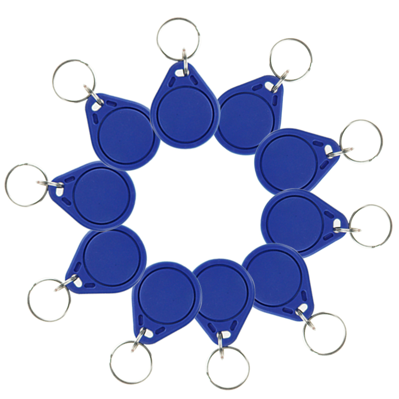 10pcs RFID NFC keyfobs I3.56 MHz IC keychains key tags ISO14443A RFID MF Classic 1K for smart access control system blue color new design rfid ic keyfobs i3 56 mhz keychains nfc key tags iso14443a rfid mf classic 1k tag for smart access control system
