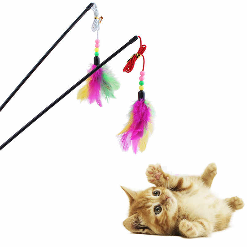 1PC Fashion  Great Kitten Play Interactive Fun Toy Cat Teaser Wand Pet Colorful Feathe Toy Pet Supplies  Grappige Kattenstok @40