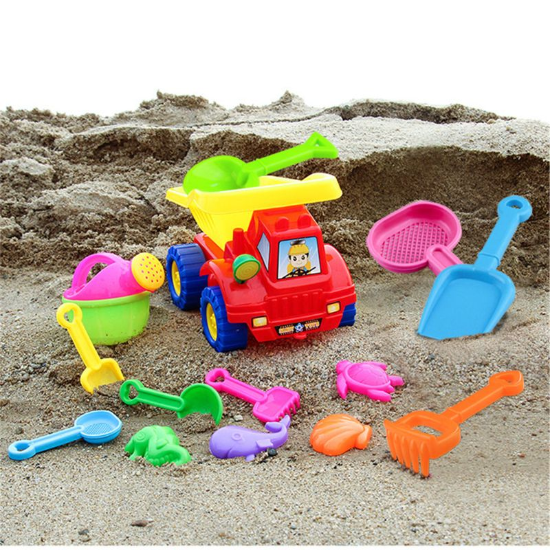 Truck Beach Sand Toy Set Including Truck Models And Molds Bucket Shovels Rakes