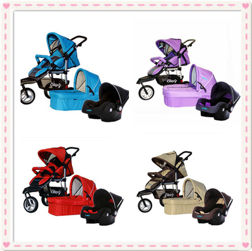 Luxury Baby Buggy 3 In 1 Include Car Seat And Bassinet RedPurpleBeige