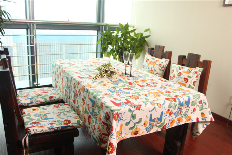 New Arrivals Cotton Textile Pillow series Animal pattern parlor suite custom tablecloths and chairs