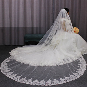 Image 5 - High Quality Neat Lace Edge Long Wedding Veil Customized Cathedral One Layer Bridal Veil with Comb Welon 2019