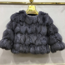 100% In Real Fox Fur Women Short Warm Coat Ladies Winter Gen