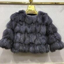 100% In Real Fox Fur Women Short Warm Coat Ladies Winter Gen