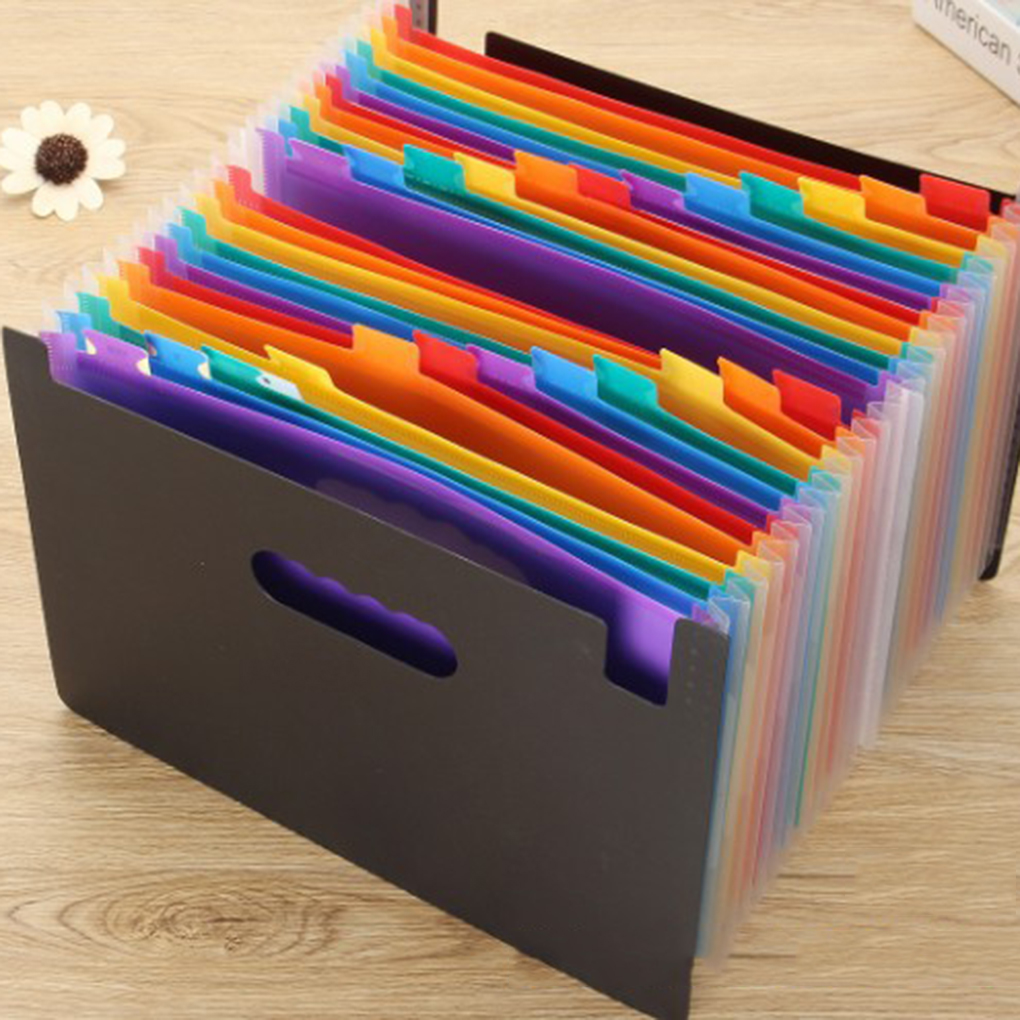 24 Pockets A4 Accordion Expanding High Capacity Plastic Stand Bag Colored Tab File Organizer