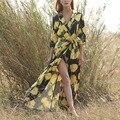 Amarelo do vintage Flor Floral Sexy Profundo Decote Em V Manga Três Quartos Caixilhos Bow Cardigan Mulheres Dividir Vestido Longo Solto Q16-11-44