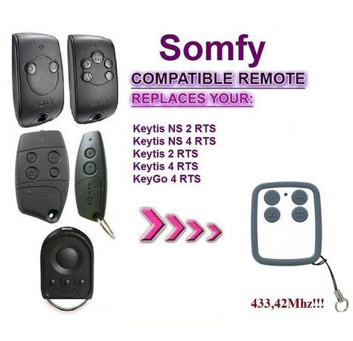 SOMFY Keytis NS 2 RTS, Somfy Keytis 4 NS RTS compatible remote control 433,42Mhz rolling code somfy telis 4 rts somfy telis 4 soliris rts compatible garage door remote control 433 42mhz free shipping
