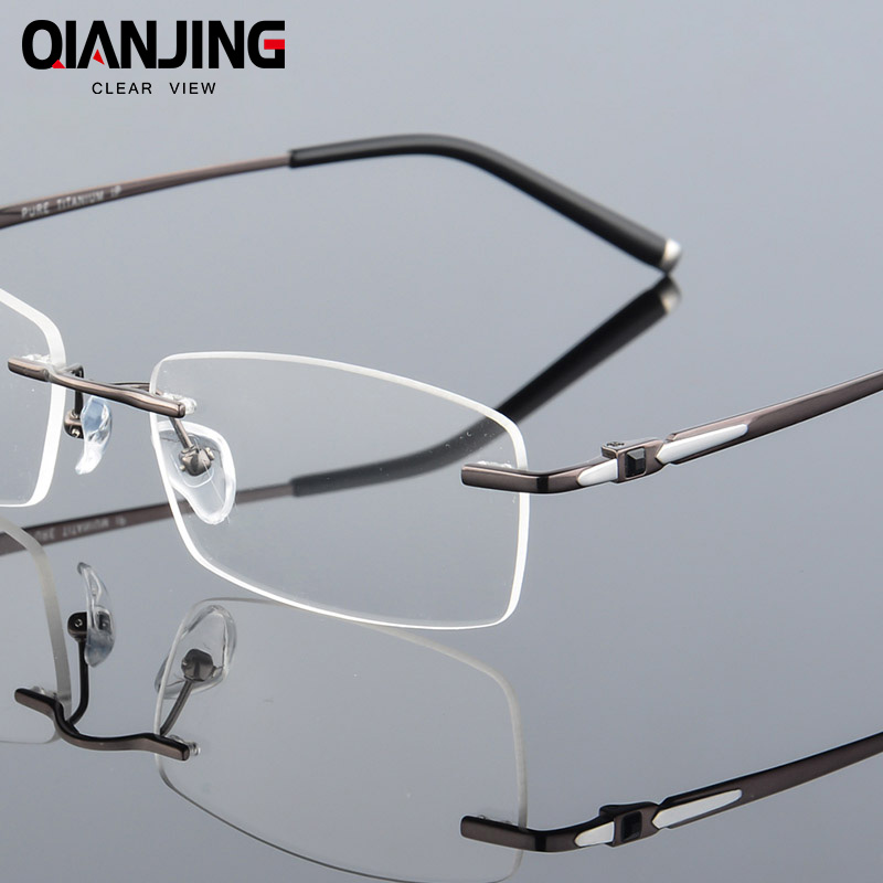 Pure Titanium Eyeglasses Rimless Optical Frame Prescription Spectacle Frameless Glasses For Men Eye glasses Silicon Foot 611