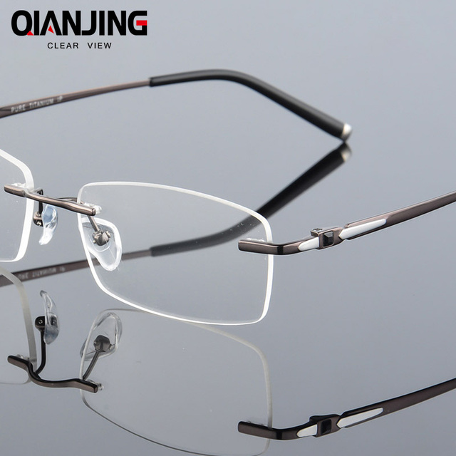8faaa78705 Pure Titanium Eyeglasses Rimless Optical Frame Prescription Spectacle  Frameless Glasses For Men Eye glasses Silicon Foot 611