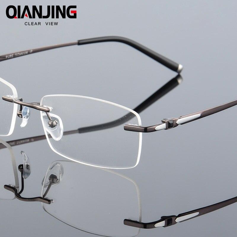 Pure Titanium Eyeglasses Rimless Optical Frame Prescription Spectacle Frameless Glasses For Men Eye glasses Silicon Foot 611