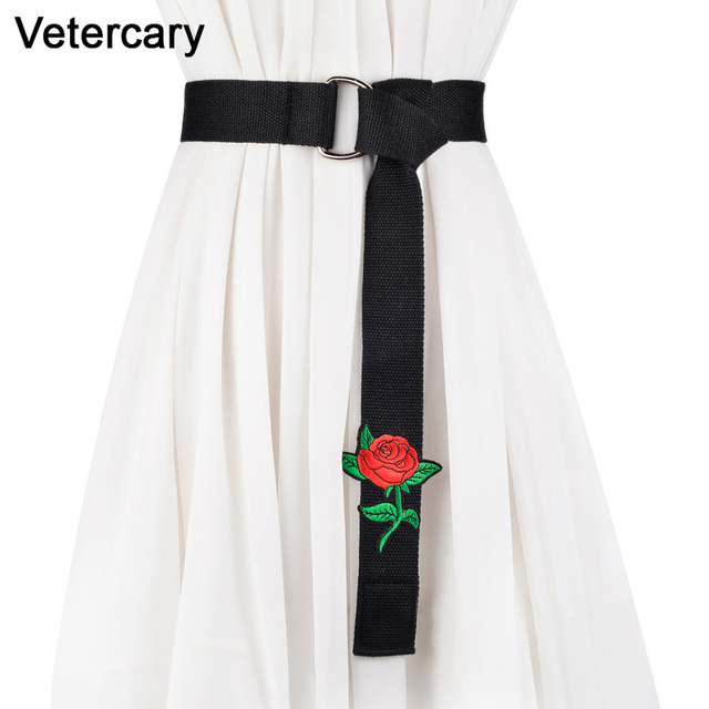 Nouveau Arrivel Rose Fleur broderie ceintures pour femmes robe vert Noir  toile ceinture longue rouge tissu f47e174b7dd
