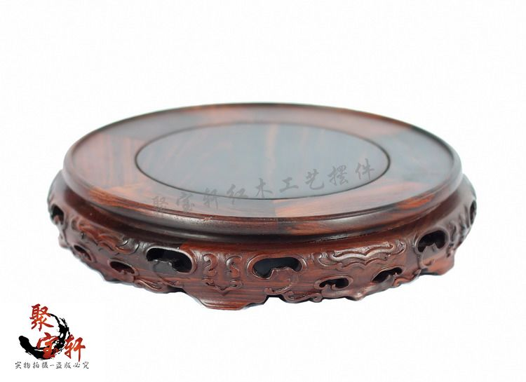 Rosewood carving annatto handicraft circular base of real wood of Buddha stone are recommended vase furnishing articles annatto square seal base solid wood carving decoration stone buddha vase handicraft furnishing articles
