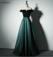 Dark Green Formal Evening Gowns Off Shoulder Velvet Satin Formal Party Dress Women Elegant Godmother Dinner Dress abendkleider