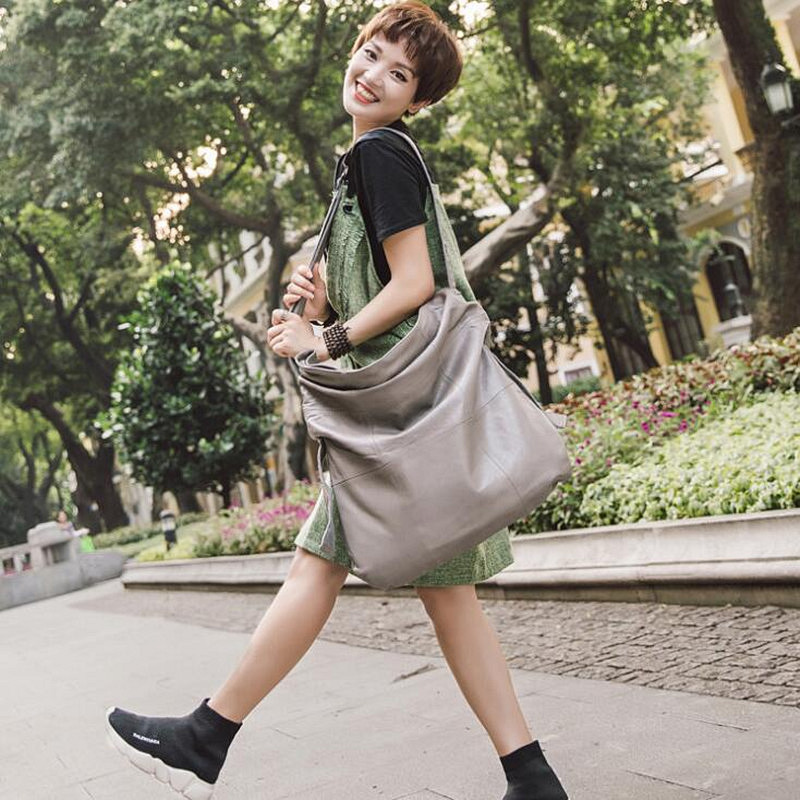 Casual Women Hobo Bag Soft Genuine Cow Leather Fashion Shoulder Bags Female Large Tote Bucket Shopping Handbag lady large capaci цена