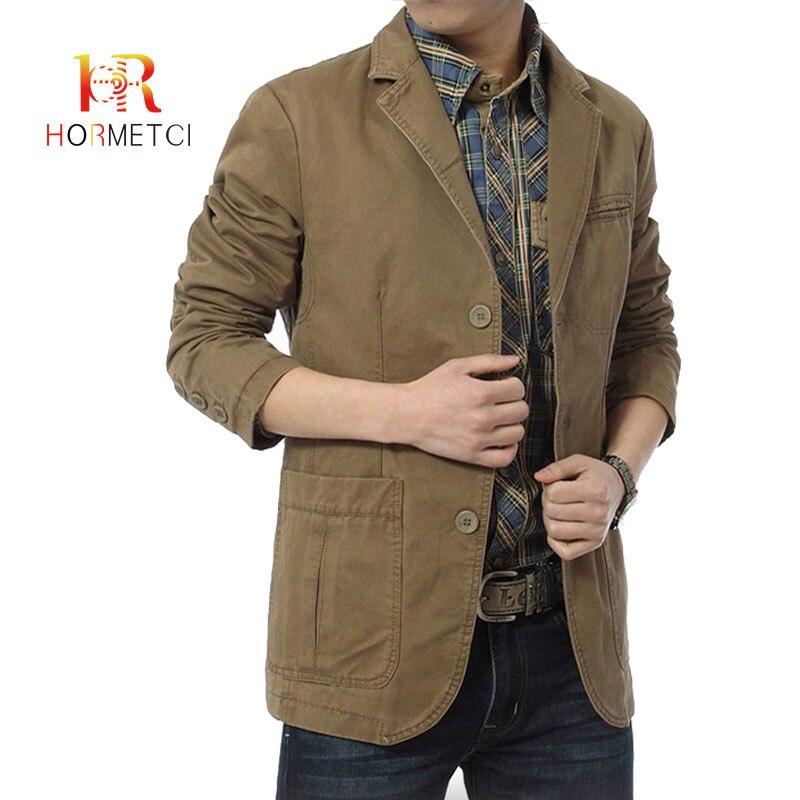 HORMETCI Autumn New Men's Blazers Casual Brand High Quality Cotton Slim Fit Men Suit Blazer Lapel Casual Full Pockets Top