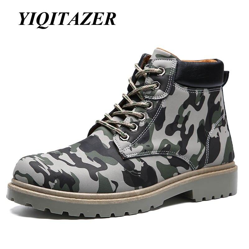 Yiqitazer осень 2017 г. новая работа Обувь Для Мужчин Армия Камуфляж Сапоги и ботинки для девочек, высокое качество кожи человека Сапоги и ботинки …