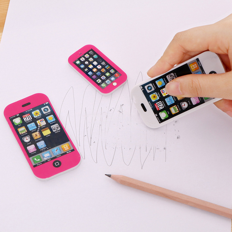 Creative Fashion Mobile Phone Shape Pencil Eraser Cartoon Cute School Supplies Erasers Kids Stationery Rubber