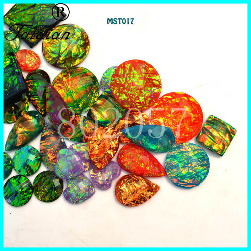 Taidian Opal Effect flatback Sew on Rhinestone Resin Cabochons For native American Powwow Jewelry Making send randomly
