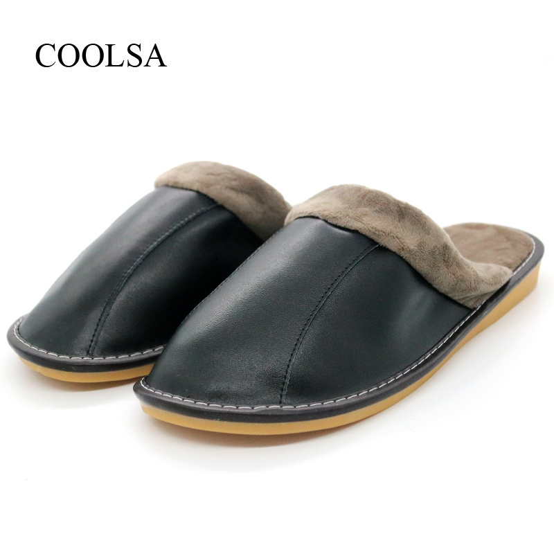 COOLSA Men's New Arrival Winter Warm Waterproof Non-slip Solid Cotton Slippers TPU Sole Genuine Leather Upper Plush Slippers Hot