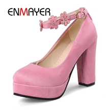 ENMAYER Flowers pumps high heels shoes woman Big size 34-43 Round toe Pink spring autumn Flock Women shoes buckle strap CR170 цены онлайн