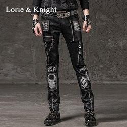 Мужские узкие брюки-карандаш в стиле панк-рок с молнией и черепом Harajuku модные брюки в стиле хип-хоп