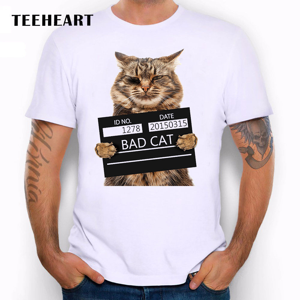 Cat Cute Animal Bad Arrest Mug shot Jail Prison Funny Joke Men T Shirt Tee