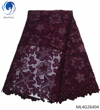 BEAUTIFICAL cord lace fabric nigerian guipure african flower 2019 best sale products ML4G264
