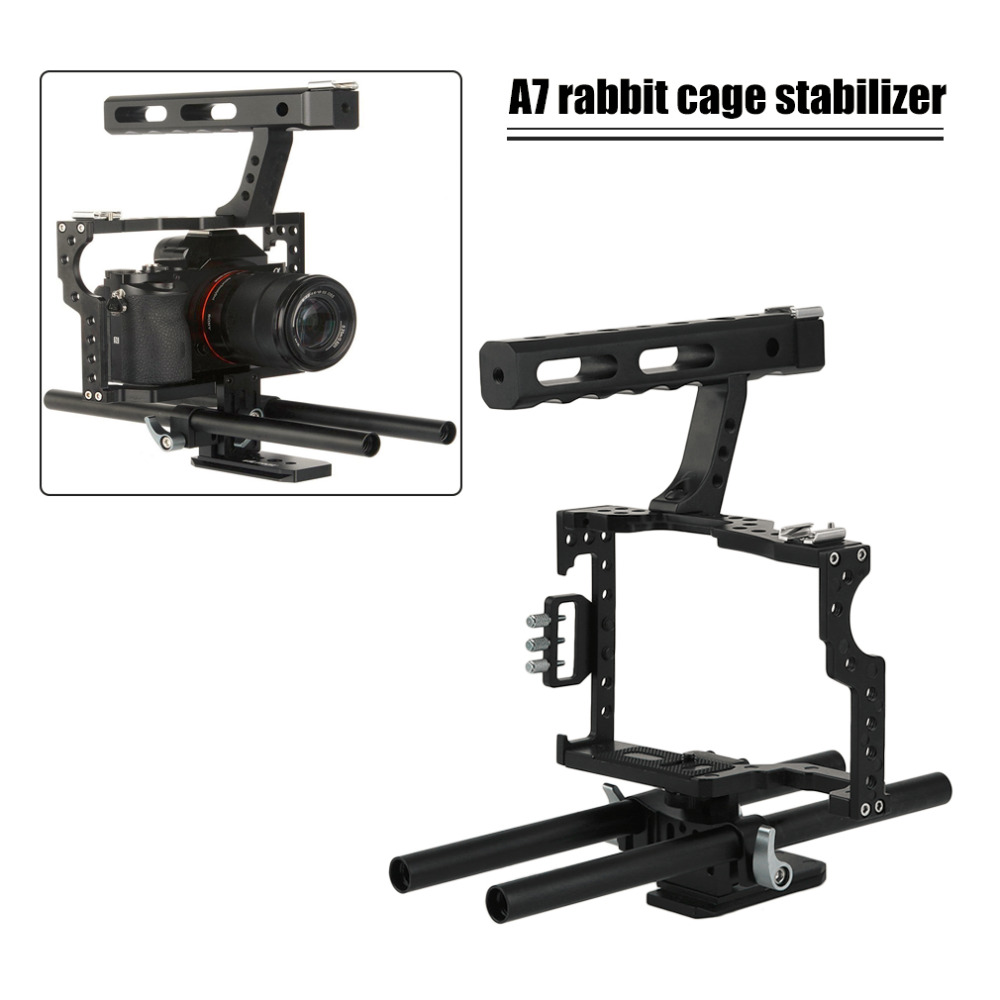 цены  Professional Camera Cage Stabilizer Kit Rod Rig DSLR Camera Video Cage Kit Stabilizer & Top Handle Grip for Camera in stock!!!