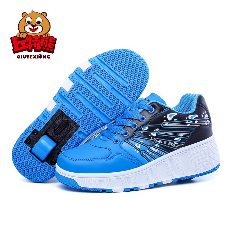 Red Shoes For Kids with Wheels Boys Running Sneakers Big Girl PU Wheel Shoes Parent-child Shoes tenis infantil menina