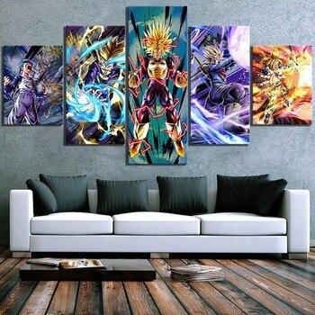 Cartel de impresión decoración del hogar lienzo 5 piezas Dragon Ball Anime pintura de pared ilustración moderna dormitorio Cuadros Marco de imagen Modular