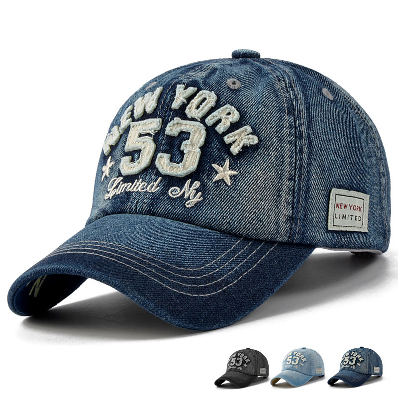 2016 new brand high quality denim baseball cap letter With letter patches for hats