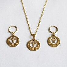 24K золото цвет из нержавеющей стали крест ювелирные наборы Новая Зеландия Кирибати Микронезия Гуам подарок на день рождения