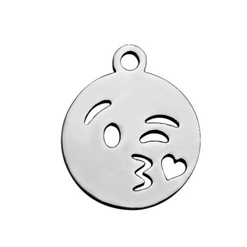 20pcs 12mm Round Cartoon Facial Expression Necklaces Pendants Kids Jewelry DIY Stainless Steel