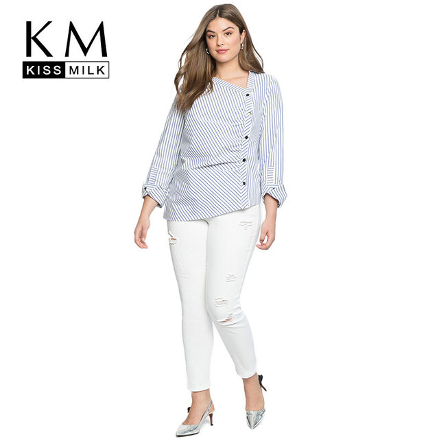 92a8eb05c4a Kissmilk Plus Size Sunmer Tops For Office Lady 2018 V-neck Striped Woman  Blouse Asymmetric Casualbottom Shirt New Arrive