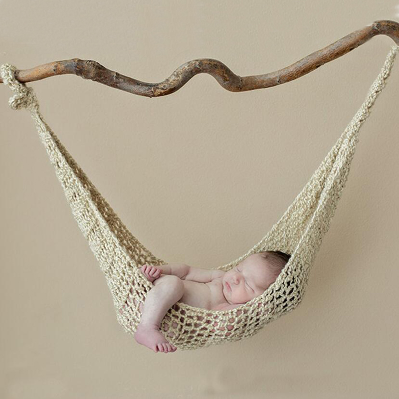 HAPHOOD Crochet White Hammock Newborn Baby Photography Props Crochet Baby Hanging Cocoon for Photo Shoot Knitted Hanging Bed цена