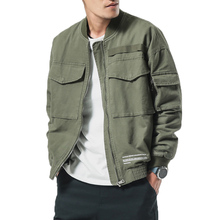 2019 Bomber Jackets Men Spring Casual Jacket Coat Men's Washed Pure Cotton Brand Clothing Male Army green cargo Coats M-5XL недорого