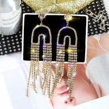 FYUAN Luxury Long Tassel Crystal Drop Earrings for Women 2019 Bijoux Gold U Shaped Rhinestone Earring Banquet Weddings Jewelry
