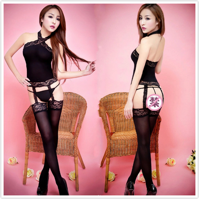 Black Sexy Lingerie Lace Top Thigh Highs Stockings Sexy Underwear Stockings 2pcs