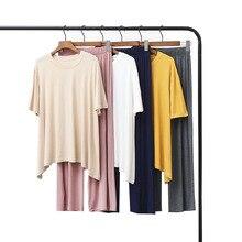 Verão & outono feminino pijamas conforto modal macio conjunto gola redonda cor sólida 2 pcs tops + calças/shorts solto homewear