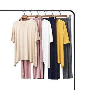 Image 1 - Yaz ve sonbahar kadın pijama konfor yumuşak Modal pijama seti yuvarlak yaka düz renk 2 adet üstleri + pantolon/şort gevşek ev tekstili
