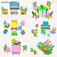 Abbyfrank 6 Set 3d Diy Mini Furniture Model Puzzle Educational Scale Toy Suits Colorful Miniatura Doll
