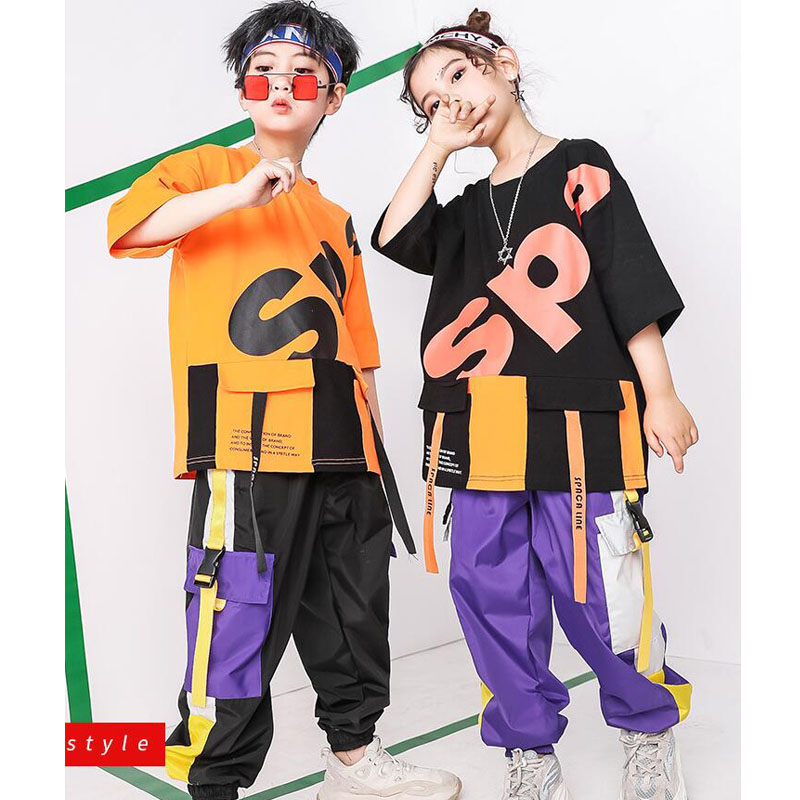 Kids Hip Hop Ballroom Dance Clothing Outfits Girls Boys Jazz Dancing Costumes T Shirt Jogger Pants Street Stage Clothes Wear