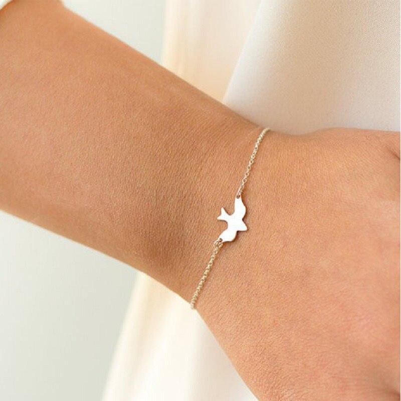 Tiny Peace Dove Bracelet Gold Silver Soar Flying Birds Bracelet Little Cute Swallow Baby Bird Bracelets Bangle Women Jewelry gold earrings for women