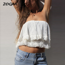ZOGAA Sexy Lace Strapless Off Shoulder Women Top Tees T-shirt Tube Top Ruffled Robe Sleeveless Casual Summer Female White Shirts white strapless knot at sleeves lace top