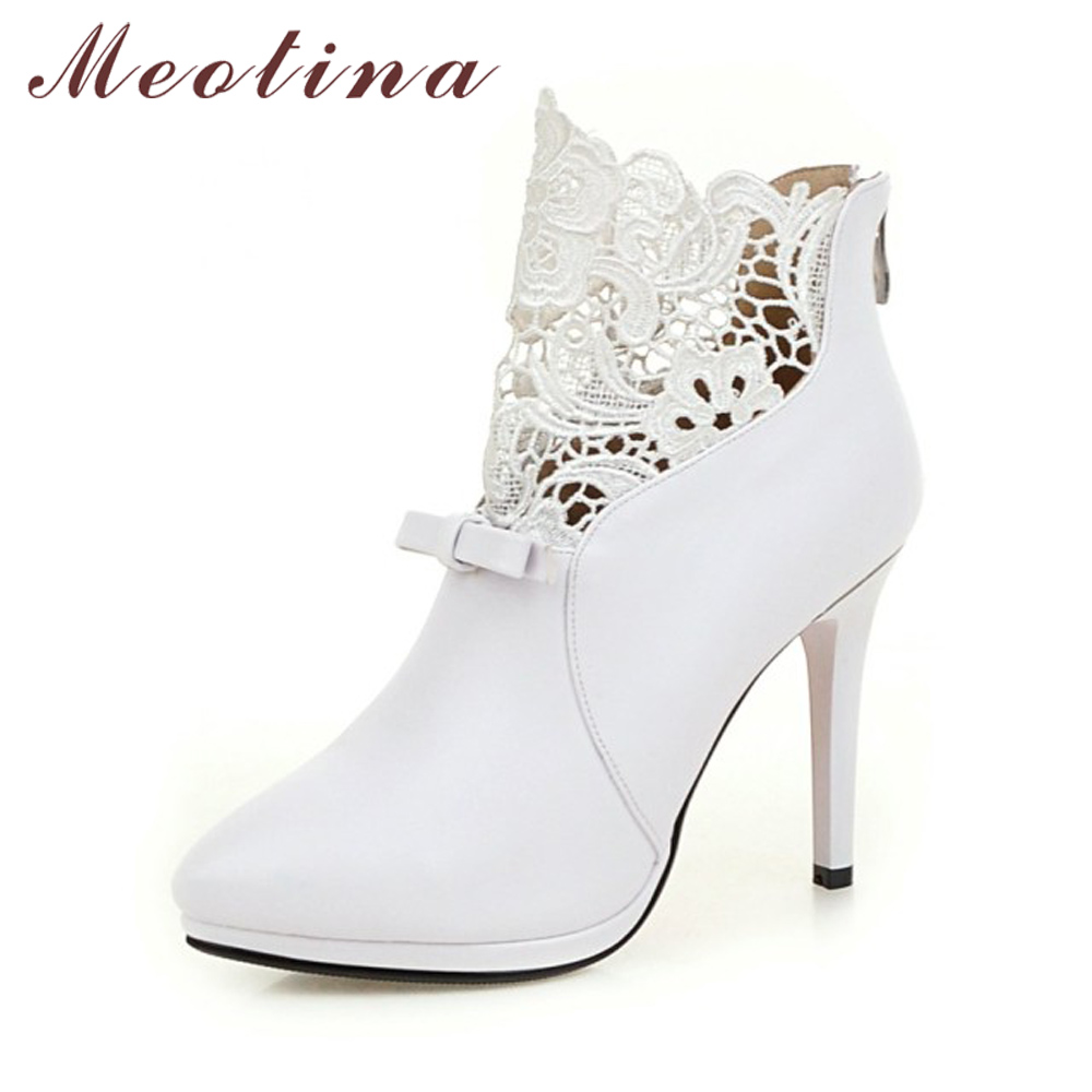 Meotina Women Boots Winter Bow White Ankle Boots Lace High Heels Boots Zip Pointed Toe Platform Shoes Ladies 2018 White Red