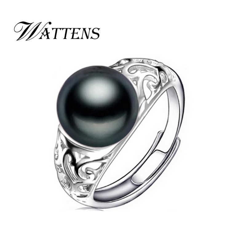 """WATTENS מים מתוקים הטבעי פרל טבעות תכשיטים לנשים, שחור פנינת זהב עם טבעות בקופסא מתנה נחמד 10-10.5 מ""""מ, אופנה חדשה"""