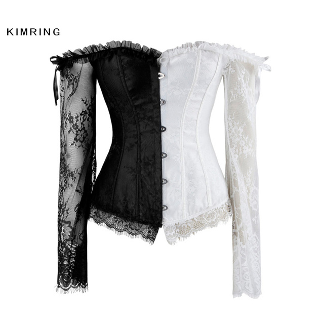 74efab539 Kimring Sexy Steampunk Lace Corset Women s Bustier Top Lace Up Back Corsets  and Bustiers Overbust Corselet Waist Cincher Shaper