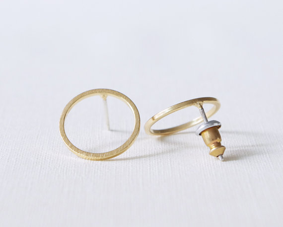 2016 Fashion New Gold Bushed Open Round Stud Earrings for Women Simple Geometric Circle Party Earrings Jewelry