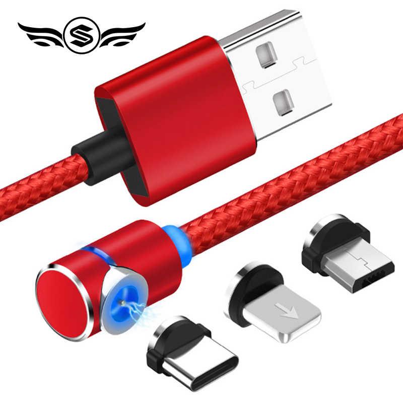 90 gradi Veloce Magnetico Cavo Micro USB di Tipo C del Caricatore di Ricarica Per il iphone XS X XR 7 Samsung S8 Magnete cavo Del Telefono Android Cavo