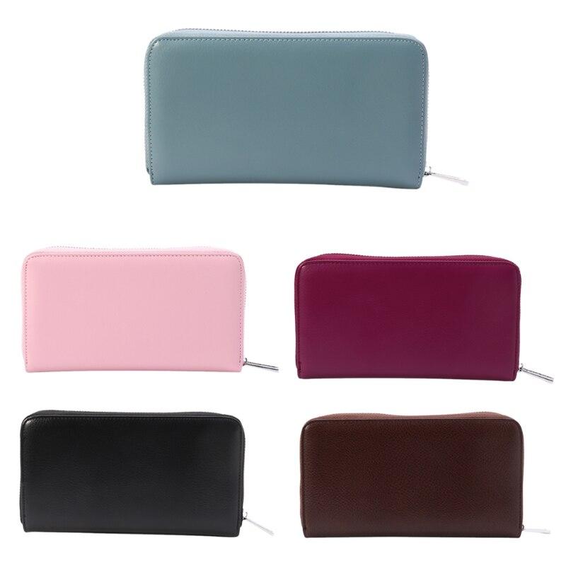THINKTHENDO Men Women RFID Clutch Travel Purse Genuine Leather Wallet Credit ID Card Holder
